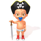 Baby Jake pirate 3d illustration Stock Image