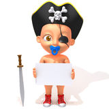 Baby Jake pirate 3d illustration Stock Photos