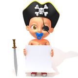 Baby Jake pirate 3d illustration Royalty Free Stock Images