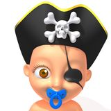 Baby Jake pirate 3d illustration Royalty Free Stock Photo