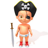 Baby Jake pirate 3d illustration Stock Images