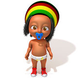 Baby Jake Rastafarian. 3d illustration over white background stock illustration