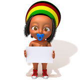 Baby Jake Rastafarian with white panel. 3d illustration over white background stock illustration