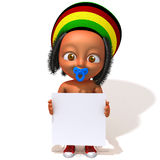Baby Jake Rastafarian with white panel. 3d illustration   over white background Stock Images