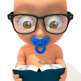 Baby Jake reading book. 3d illustration   over white background Stock Image