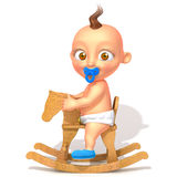 Baby Jake on rocking horse 3d illustration Stock Photos