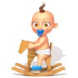 Baby Jake on rocking horse 3d illustration. Over white background Stock Photos