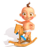 Baby Jake on rocking horse 3d illustration Royalty Free Stock Photos