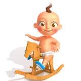 Baby Jake on rocking horse 3d illustration. Over white background stock illustration