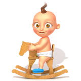 Baby Jake on rocking horse 3d illustration Stock Photo