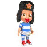Baby Jake with russian fur hat 3d illustration. Over white background Royalty Free Stock Photos
