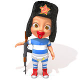 Baby Jake russian with kalashnikov. 3d illustration   over white background Royalty Free Stock Images