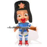 Baby Jake russian with kalashnikov 3d illustration Royalty Free Stock Images