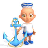 Baby Jake sailorman 3d illustration. Over white background Royalty Free Stock Photo