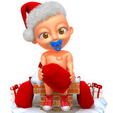 Baby Jake Santa Claus. Cute happy baby in red Christmas clothes on white vector illustration