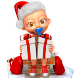 Baby Jake Santa Claus. Cute happy baby in red Christmas clothes  on white Stock Photography