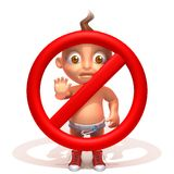 Baby Jake with a stop sign. 3d illustration  isolated over white background Stock Photos