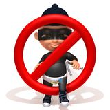 Baby Jake thief forbidden sign. 3d illustration  isolated over white background Royalty Free Stock Images