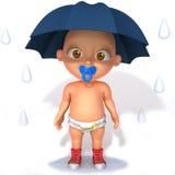 Baby Jake with umbrella 3d illustration. Over white background royalty free illustration