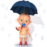 Baby Jake with umbrella 3d illustration Royalty Free Stock Photography
