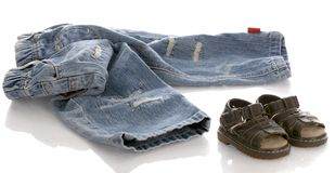 Baby jeans and sandals Stock Photo