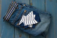 Baby jeans and socks Royalty Free Stock Photo