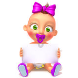 Baby Jessica with white panel 3d illustration Royalty Free Stock Image