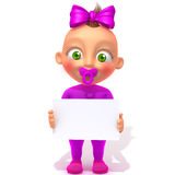 Baby Jessica with white panel 3d illustration Stock Photography