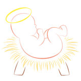 Baby Jesus Christmas Crib White Lizenzfreies Stockfoto