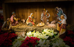 Baby Jesus Christmas Nativity Scene. Christmas nativity scene with Baby Jesus, the three wise men, and Mary and Joseph. In the Christian religion it is believed Stock Photography