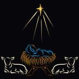 Baby Jesus, dieren en een ster, op een zwarte achtergrond stock illustratie