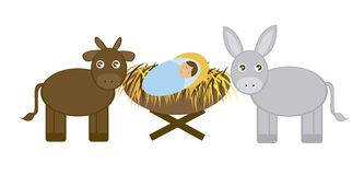 Baby Jesus with Donkey and ox. Isolated over white background. vector Royalty Free Stock Photos