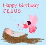 Baby Jesus in einer Krippe Lizenzfreies Stockfoto