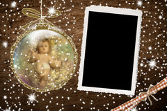 Baby Jesus and empty frame Royalty Free Stock Photos