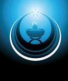 Baby Jesus icon. Symbol or icon representing the baby Jesus in the manger or crib, inscribed inside a star. Everything in blue colors Stock Image