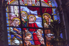 Baby Jesus John Mary Stained Glass Basilica Cathedral Andalusia Royalty Free Stock Photo