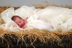 Baby Jesus in Manger. The Christmas story with baby Jesus sleeping in manger Royalty Free Stock Image