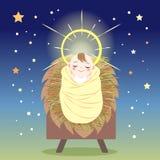Baby Jesus in manger stock illustration