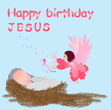 Baby jesus in a manger. Happy birthday baby jesus with angel Royalty Free Stock Photo