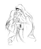 Baby Jesus Mary and Joseph in abstract line art drawing on white background; Christmas holiday season Stock Photography