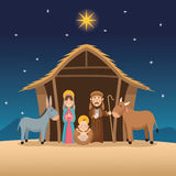 Baby jesus mary and joseph design. Baby jesus mary and joseph cartoon icon. Holy family and merry christmas season theme. Colorful design. Vector illustration Stock Photography