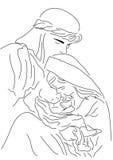 Baby Jesus Mary und Joseph | Weihnachtslinie Kunstillustration | Bibelgeschichtenfarbton Lizenzfreie Stockfotos