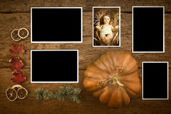 Baby Jesus photho and four empty photos frames Royalty Free Stock Photos