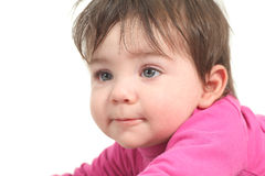 Baby with a just after getting up face. Baby with a just woke up face on a white isolated background stock photography