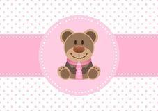Baby-Karten-Mädchen-Teddy And Bottle Dots Background-Rosa lizenzfreie abbildung