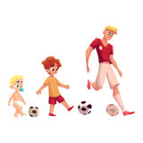Baby, kid and adult soccer player playing football, sport for all ages Stock Photography