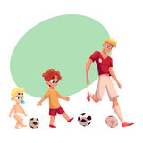 Baby, kid and adult soccer player playing football, sport for all ages Royalty Free Stock Photos
