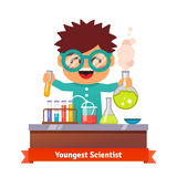 Baby kid doing chemistry experiments. Youngest scientist. Baby kid doing chemistry experiments. Holding flask and test tube in hands. Flat style vector cartoon Royalty Free Stock Photography