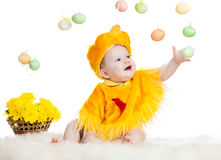 Baby kid dressed in Easter chicken costume Stock Images