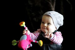 Baby kid playing with toy royalty free stock images
